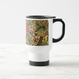 Vintage Golden Lilly Floral Design William Morris Travel Mug