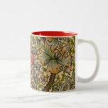 Vintage Golden Lilly Floral Design William Morris Two-Tone Coffee Mug
