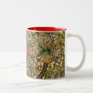 Vintage Golden Lilly Floral Design William Morris Two-Tone Coffee Mug