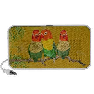 Vintage Golden Love Birds Doodle Speaker