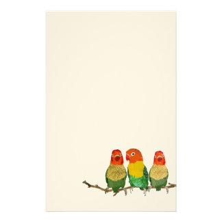 Vintage Golden Love Birds Stationery