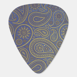 Vintage Golden Paisley on Blue Guitar Pick