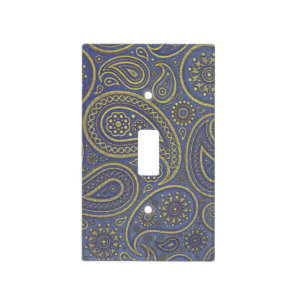 Vintage Golden Paisley on Blue Light Switch Cover