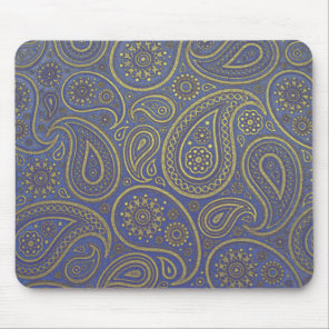 Vintage Golden Paisley on Blue Mouse Pad