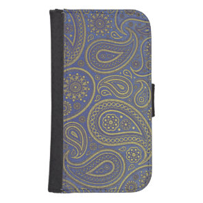 Vintage Golden Paisley on Blue Samsung S4 Wallet Case