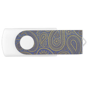 Vintage Golden Paisley on Blue USB Flash Drive