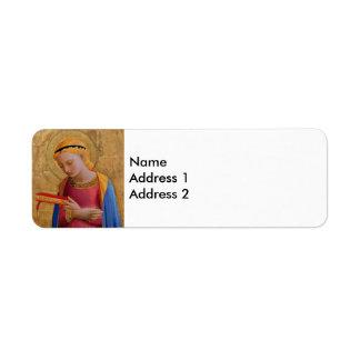 Vintage Golden Religious Figure Label
