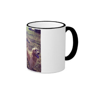 Vintage golden retriever dogs lined up ringer mug