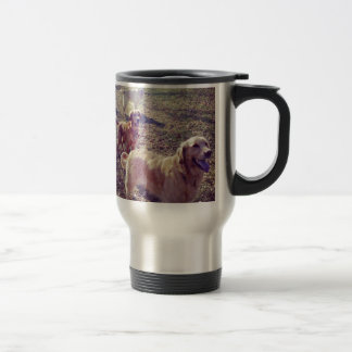 Vintage golden retriever dogs lined up travel mug