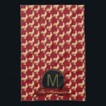 "Vintage Golden Rooster Pattern Kitchen Towel<br><div class=""desc"">Golden rooster pattern derived from vintage artwork with the accent of a red edged black emblem and red banner.  Both text fields can be personalized for meeting your own unique design needs.</div>"