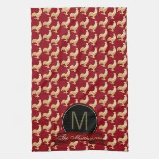 Vintage Golden Rooster Pattern Kitchen Towel