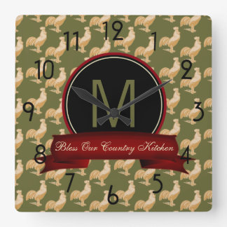 Vintage Golden Rooster Pattern Square Wall Clock