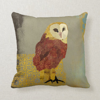 Vintage Golden Ruby Owl Mojo Pillow