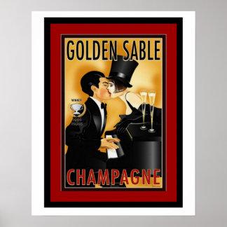 Vintage Golden Sable Champagne Ad Poster