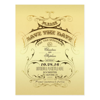 Vintage golden save the date postcard