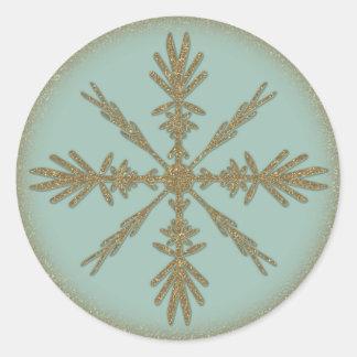 Vintage Golden Snowflake 6 Classic Round Sticker