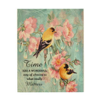 Vintage Golden Sparrows Wooden Canvas Wood Wall Art