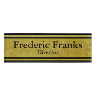 Vintage Golden Stripes - black + your ideas Name Tag