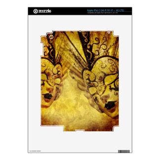 Vintage golden Venetian masks Decal For iPad 3