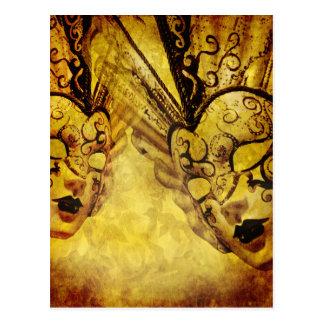 Vintage golden Venetian masks Postcard
