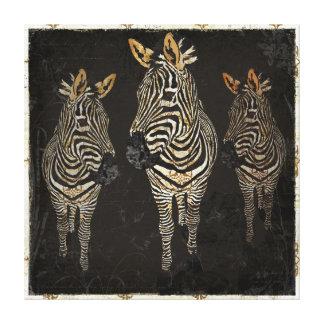 Vintage Golden White Zebras Art Canvas