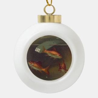 Vintage Goldfish Bowl Ceramic Ball Christmas Ornament