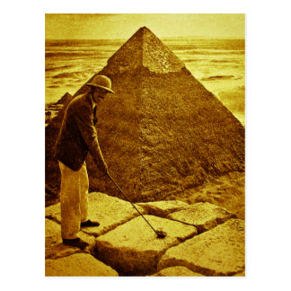 Vintage Golf at the Pyramids Postcard