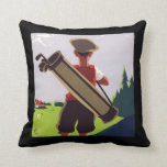 Vintage Golf Caddy Artwork Pillow