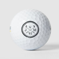 Vintage Golf Club Logo Monogram Golf Balls
