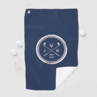Vintage Golf Club Logo Monogram Golf Towel