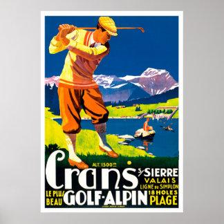 Vintage Golf in Switzerland Poster