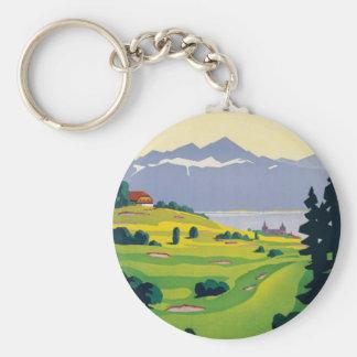 Vintage Golf Lausanne City Lake Switzerland Keychain