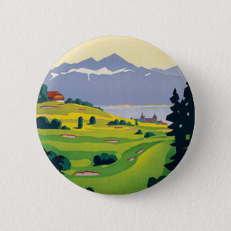 Vintage Golf Lausanne City Lake Switzerland Pinback Button