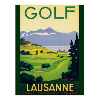 Vintage Golf Lausanne City Lake Switzerland Postcard