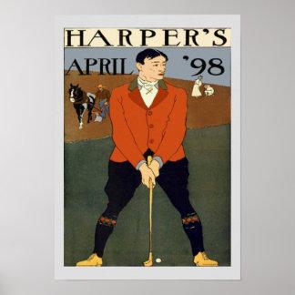 Vintage Golf Magazine Cover Harpers Poster