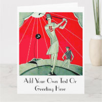 Vintage Golf - Personalised Big Greeting Card