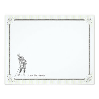 Vintage Golf Personalized Flat Note Cards - Man Personalized Announcement