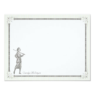 Vintage Golf Personalized Flat Note Cards - Woman Announcement