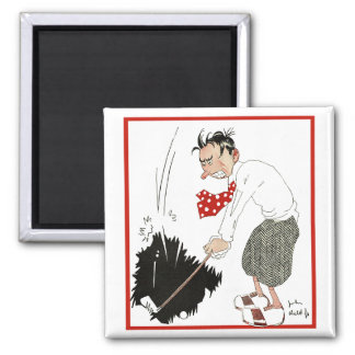 Vintage Golf Sports Humor, Funny Silly Golfer 2 Inch Square Magnet