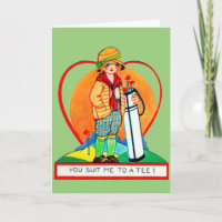 Vintage Golf Valentine Card