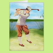 Vintage Golfer by the Riverbank Card