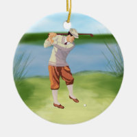 Vintage Golfer by the Riverbank Ceramic Ornament