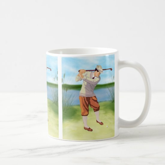 Vintage Golfer by the Riverbank Coffee Mug