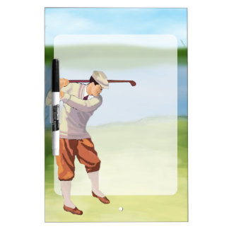 Vintage Golfer by the Riverbank Dry Erase Board
