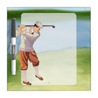 Vintage Golfer by the Riverbank Dry Erase Board