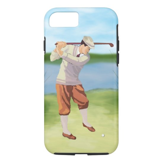 Vintage Golfer by the Riverbank iPhone 8/7 Case