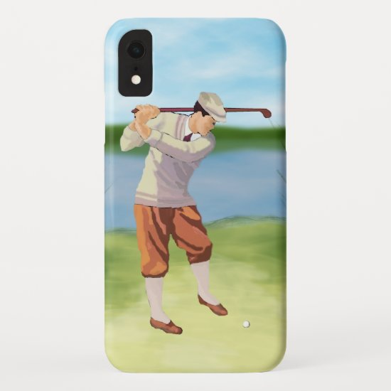 Vintage Golfer by the Riverbank iPhone XR Case