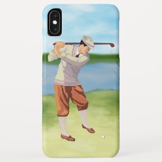 Vintage Golfer by the Riverbank iPhone XS Max Case