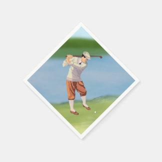 Vintage Golfer by the Riverbank Napkin