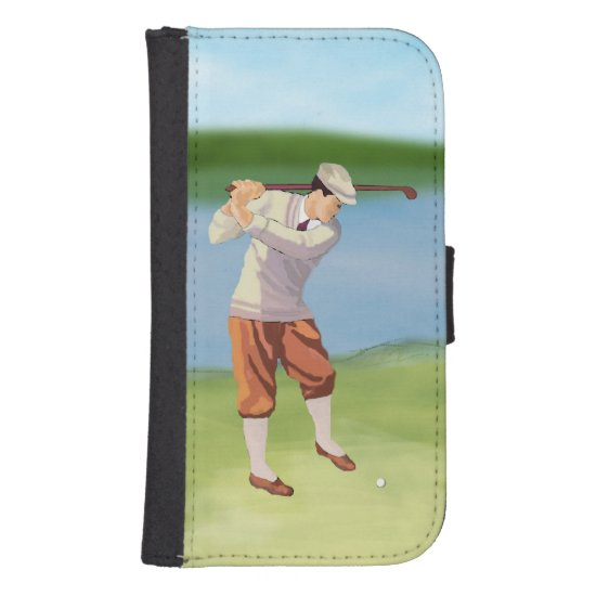 Vintage Golfer by the Riverbank Phone Wallet